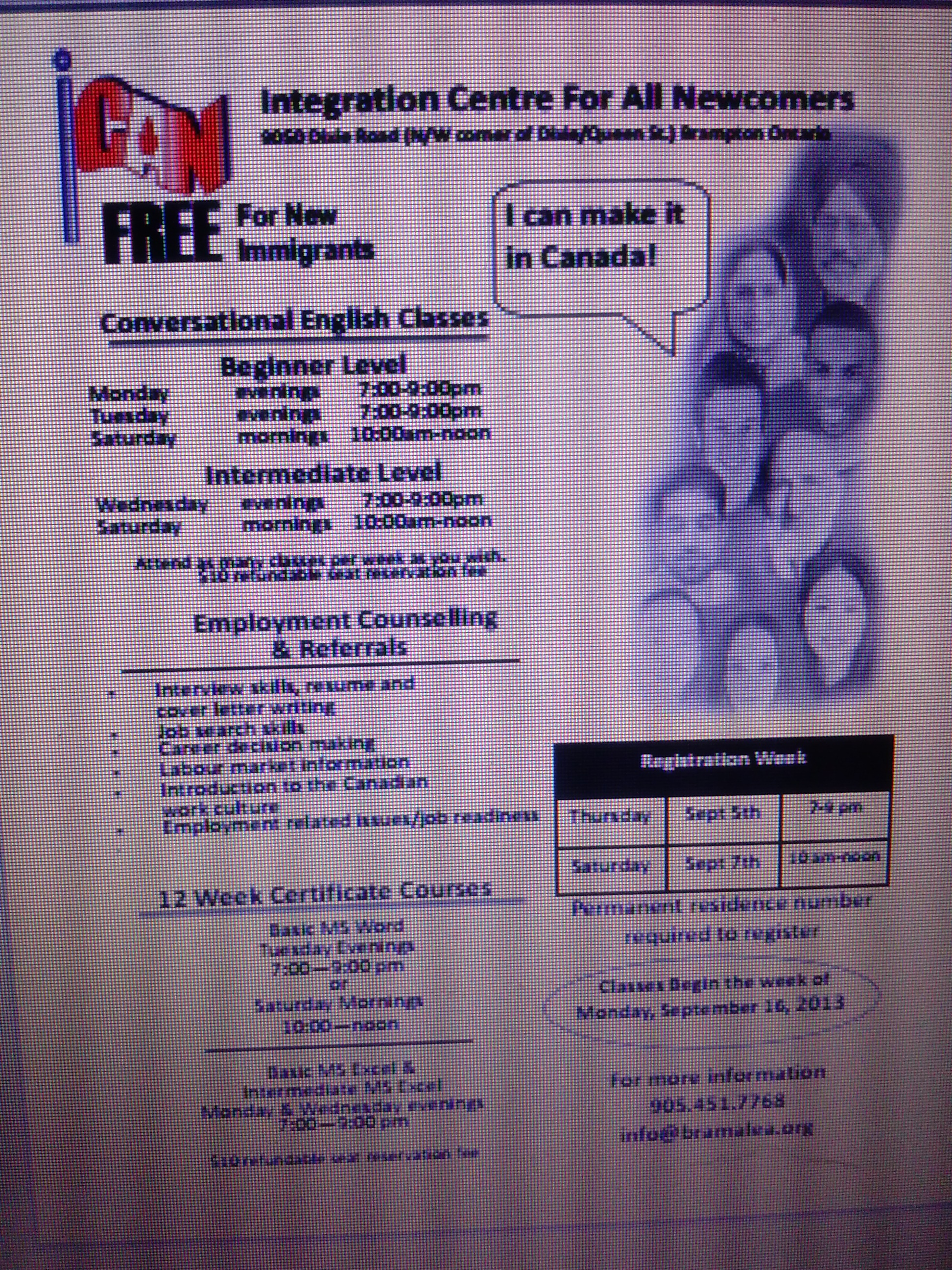 FREE ENGLISH & COMPUTER CLASSES FOR NEWCOMERS - Ican Pics 001