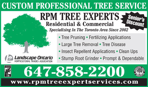 RPM TREE EXPERTS 647 858 2200 - Post Image1