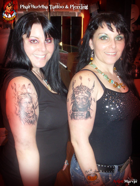 Quality Tattoo Portraits - Bigdog Kickingbear Sisters
